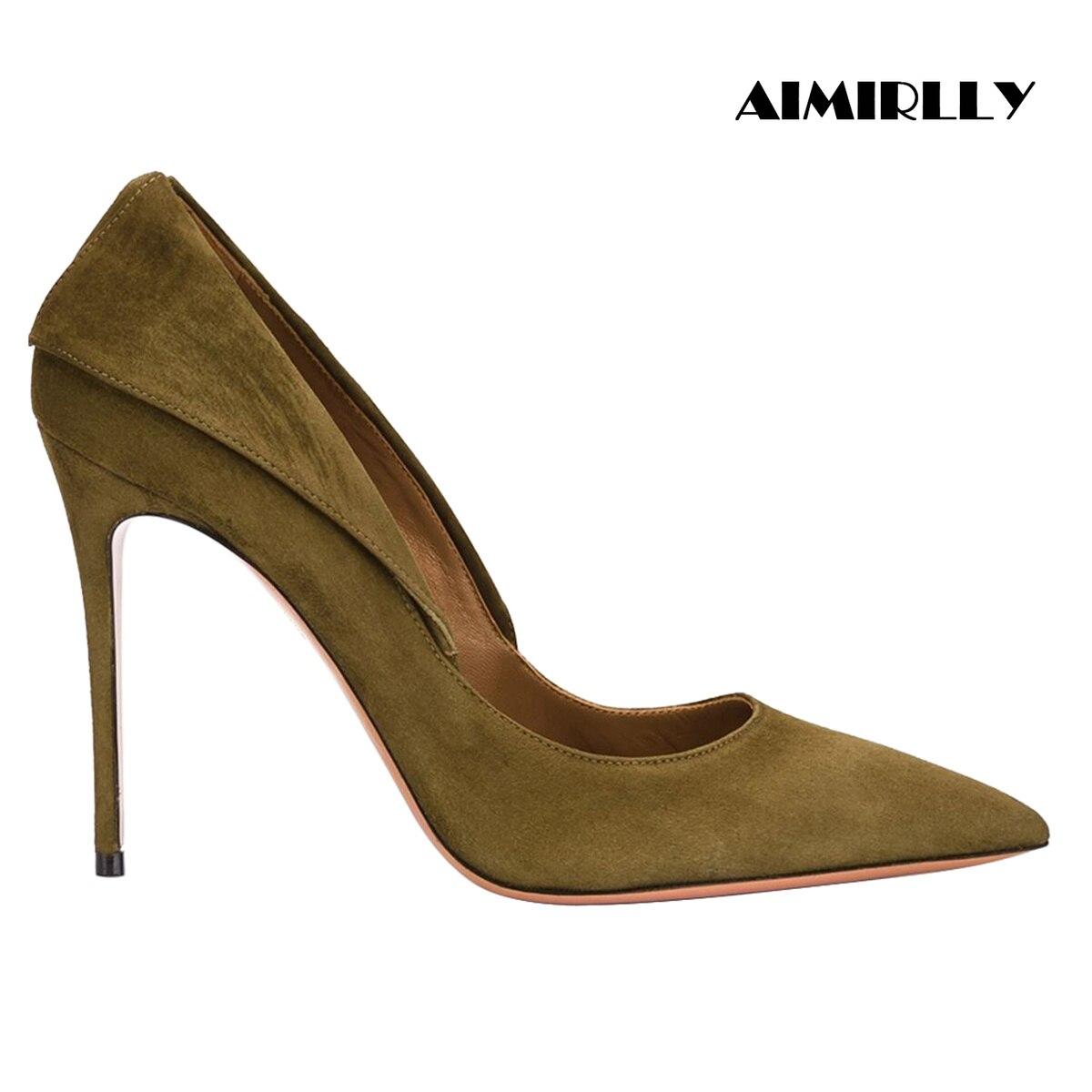 รองเท้าผู้หญิงรองเท้าส้นสูงปั๊มชี้ Toe อย่างเป็นทางการ Evening Party รองเท้าทำงาน & อาชีพ Turn down Collar รองเท้าส้นสูง faux Suede-ใน รองเท้าส้นสูงสตรี จาก รองเท้า บน AliExpress - 11.11_สิบเอ็ด สิบเอ็ดวันคนโสด 1