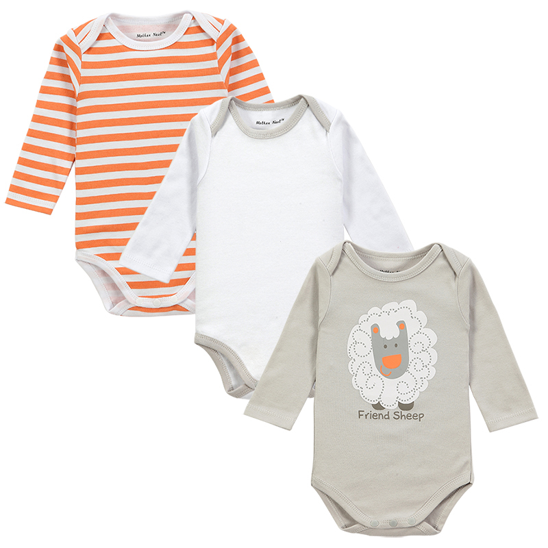 b19319ac6e 100% Cotton Baby Bodysuit 3pieces lot Autumn Newborn Cotton Body Baby Long  Sleeve Underwear Next Infant Boy Girl Pajamas Clothes