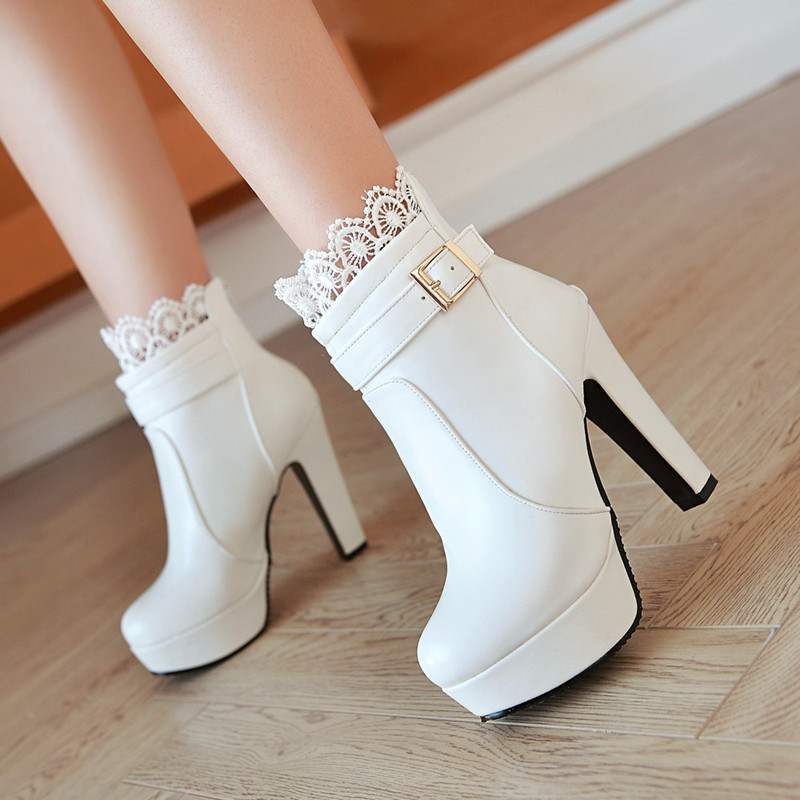 Online Buy Wholesale white booties heels from China white booties ...