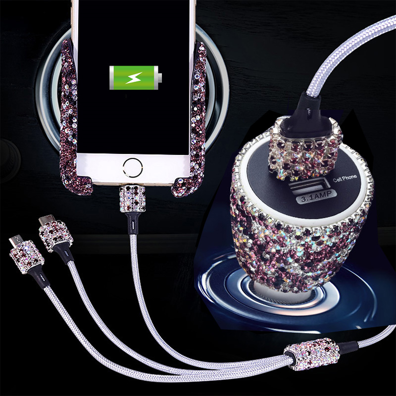 Rhinestones Gravity Car GPS Stand Phone Holder Air Vent Mount Diamond Crystal Load-bearing Navigation Bracket USB Fast Charger