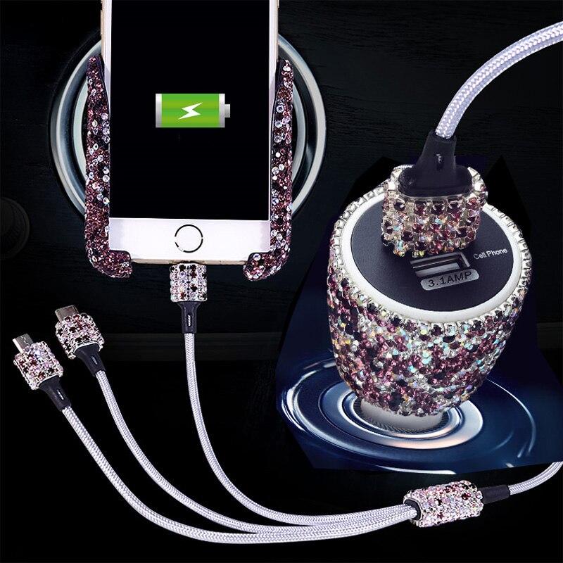 Strass gravedad coche GPS soporte de teléfono soporte de ventilación de aire montaje diamante cristal carga-Soporte de navegación cargador rápido USB