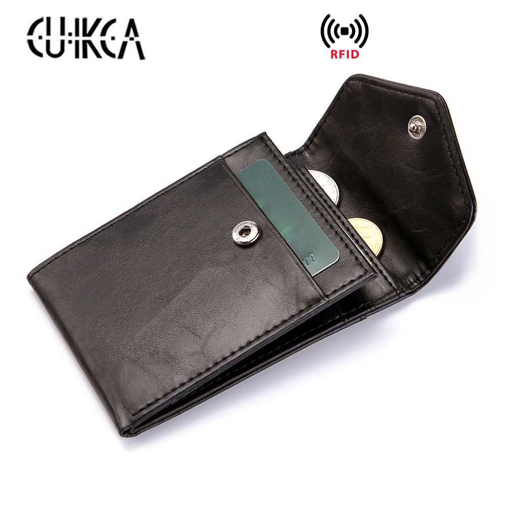 CUIKCA RFID Carteira Dos Homens Das Mulheres Da Forma Mini Ultrafinos Carteira De Couro Fino Bolsa de Moedas Carteira Cartão & ID Titulares de Cartão de Crédito casos