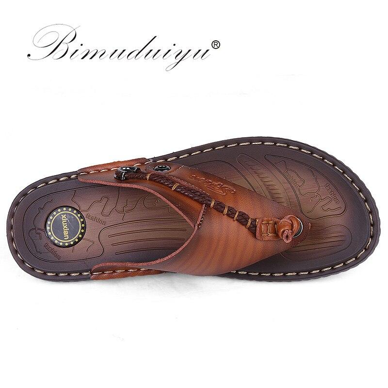 BIMUDUIYU Flip Flops de brand de lux Soft confortabile din piele din - Pantofi bărbați - Fotografie 3