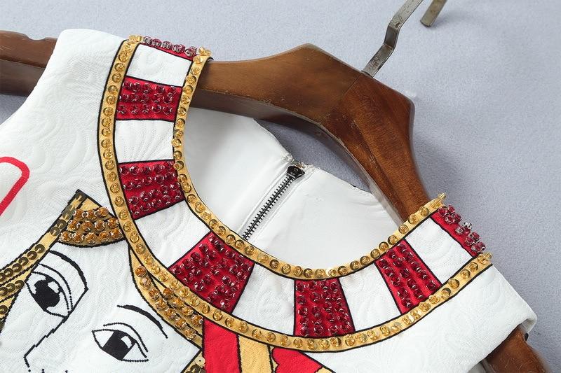 Court Une As Sans Shown De Jacquard Poker Cavalier 111705 Paillettes Gamme Diamants Blanc Cou Manches Imprimer Robe O Ligne Femmes Haut 2018 q8ZBR