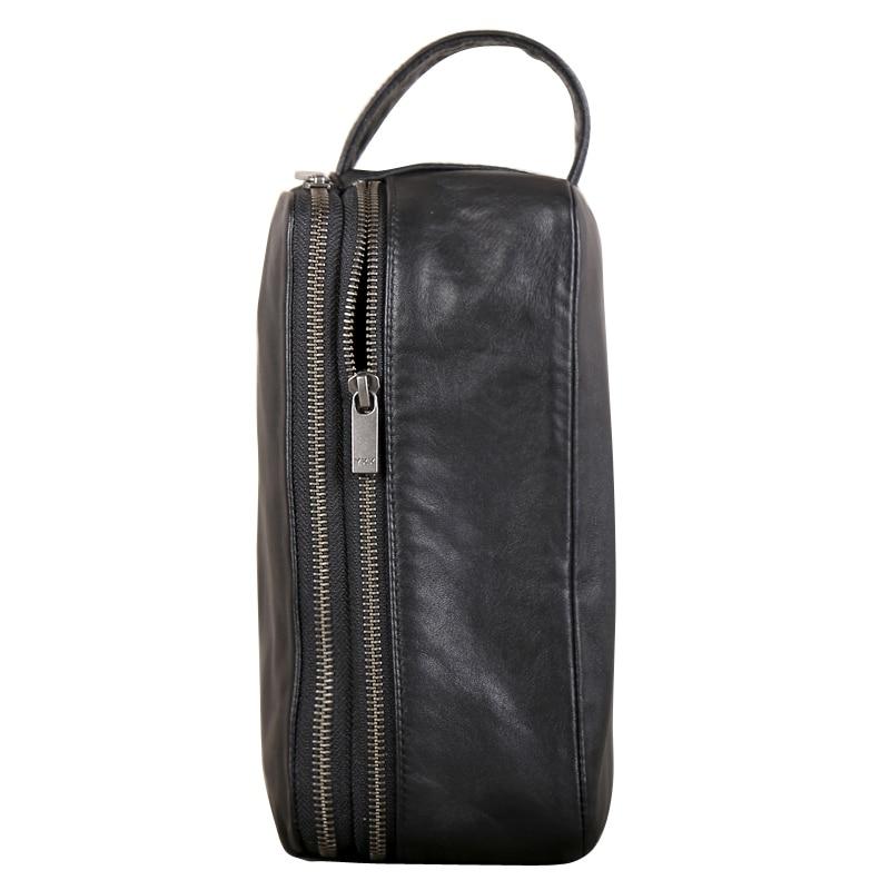 Saco de embreagem dos homens couro genuíno grande capacidade saco de dinheiro luxo masculino duplo zíper carteiras viagem telefone bolsas organizador carteira - 3