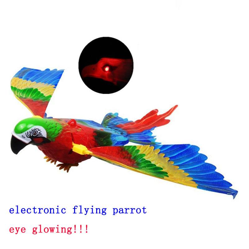 Funny Toys Big Electronic Pet Hanging Wire Electric Parrot With LED Light Music Eye Glowing Bird Toys Kids Educational Toys Gift