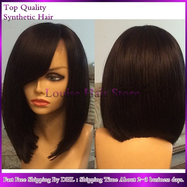 New Braided Short Bob Silky Straight Side Part With Bangs Glueless