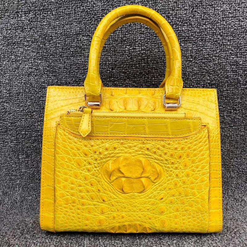 Genuine Alligator Leather Women s Light Yellow Summer Totes Small Purse Handbag Real Crocodile Skin Lady