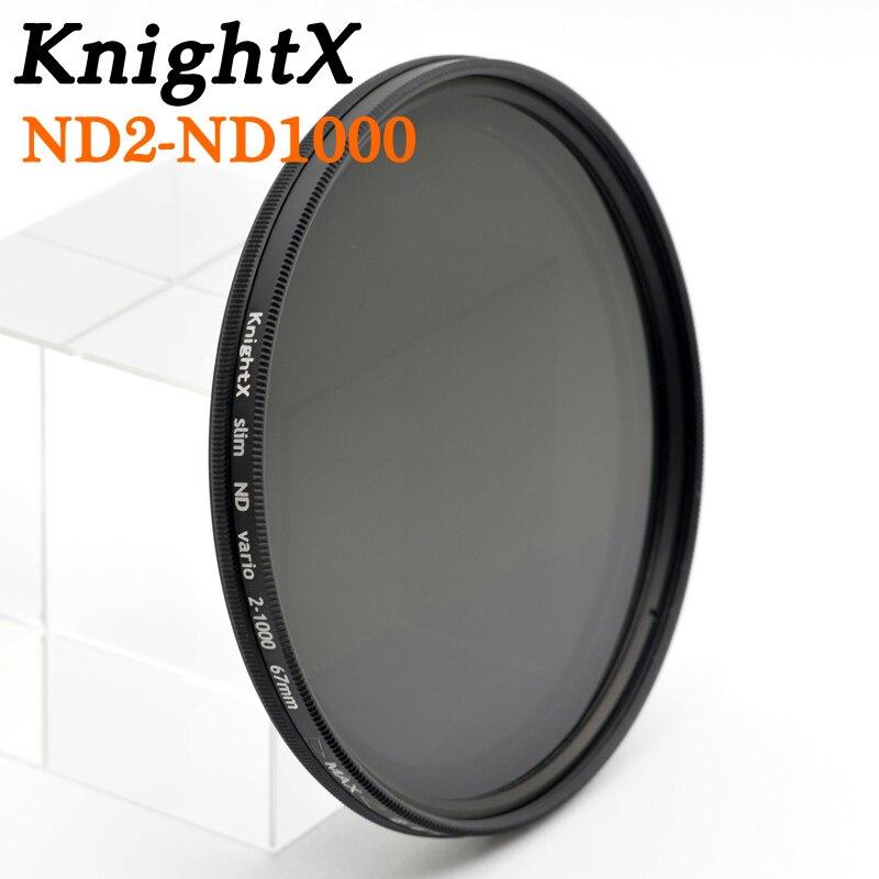 KnightX ND2 à nd400 ND1000 52mm 58mm nd2-400 Densité Neutre Variable ND Lentille Filtre pour Canon nikon d3200 d5300 600d 100d 500d