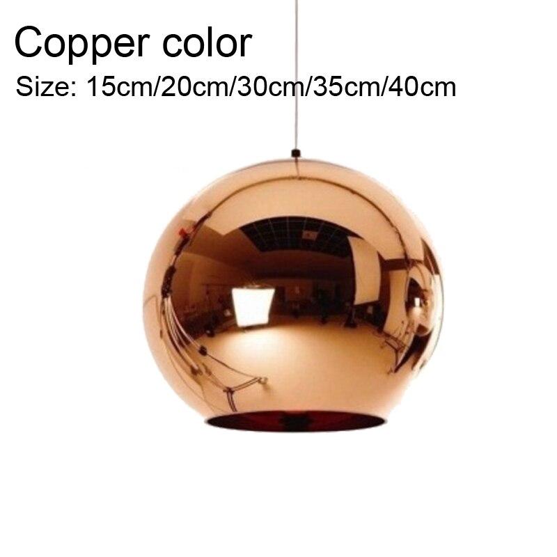 Image 4 - 銅スライバーシェードミラーシャンデリアライト E27 電球 led ペンダントランプ近代的なガラスボール照明glass ball lightpendant lampled pendant lamp -