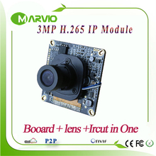 New H.265 Full HD 3MP 2048*1536 realtime perfect night vision CCTV Network IP camera Board Module Onvif webcam moudules