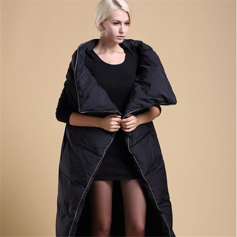 Зимнее пальто 2016 долго одеяло вниз пальто личности утолщение тепловой зимняя одежда пуховик женщин пальто черный/белый