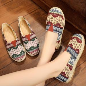 Image 5 - womens espadrille Embroider shoes Comfortable slippers Ladies Womens Casual Shoes Breathable Flax Hemp Canvas Blue Flamingo