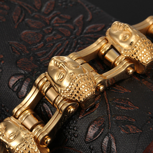 Image 5 - Cool Jewelry Heavy 155g Gold Stainless Steel Biker Motorcycle Chain Mens Gifts Buddha Head Bracelet 8.8 20mm