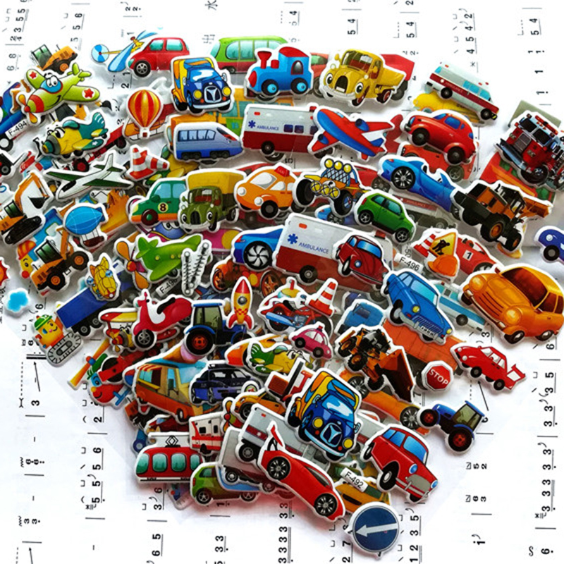 7*17cm 6PCS / Lot Mixed Cartoon Bubble Stickers Transport Cars Children Kids Girls&Boys Cartoon Stickers Decoration Scrapbook