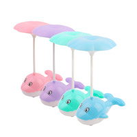 Creative Cute Dolphin Shape 3 Modes Touch Switch LED USB Rechargeable Lamp Eye Protective Reading Lamp