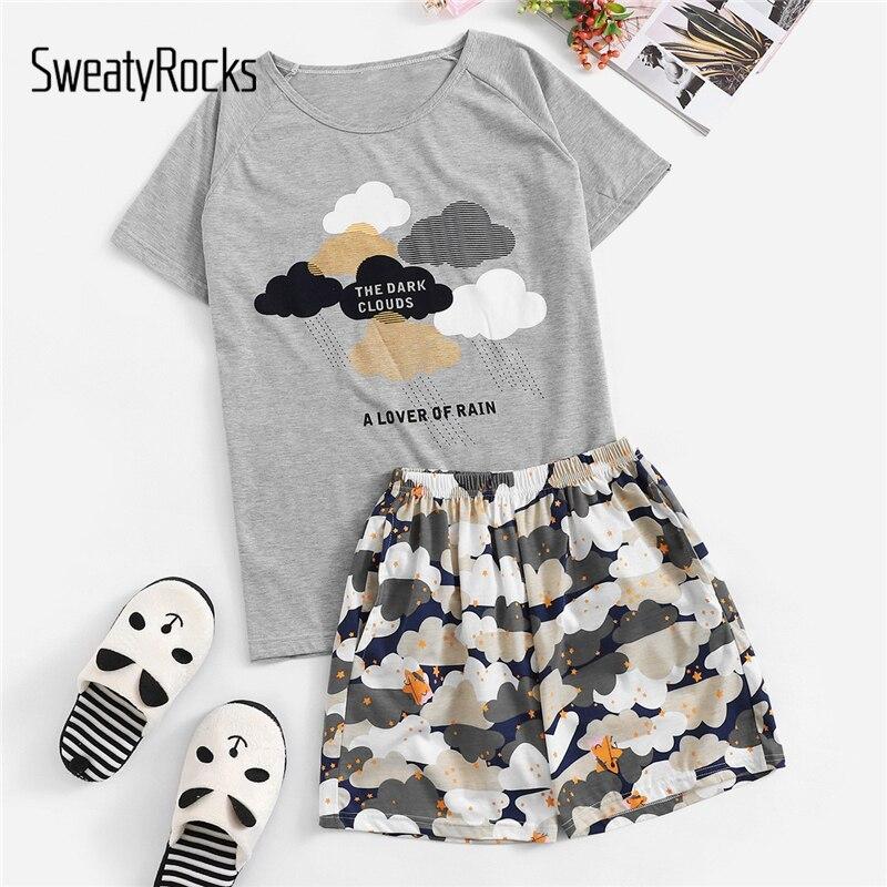 SweatyRocks Cloud And Star Print   Pajama     Set   Kawaii Nightwear Short Sleeve Tops Women Casual Short   Sets   2019 Summer   Pajama     Sets