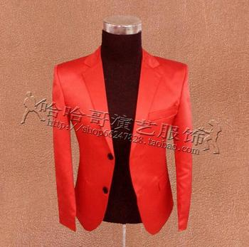 Slim clothes men suits designs masculino homme terno stage costumes for singers jacket men blazers dance star style dress red
