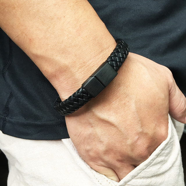 Fashion Male Jewelry Handmade Braided Leather Bracelet 3