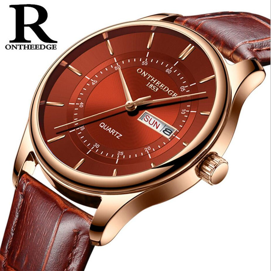 High Quality Rose Gold Dial Watch Men Leather Waterproof 30M Watches Business Fashion Japan Quartz Movement High Quality Rose Gold Dial Watch Men Leather Waterproof 30M Watches Business Fashion Japan Quartz Movement Auto Date Male Clock