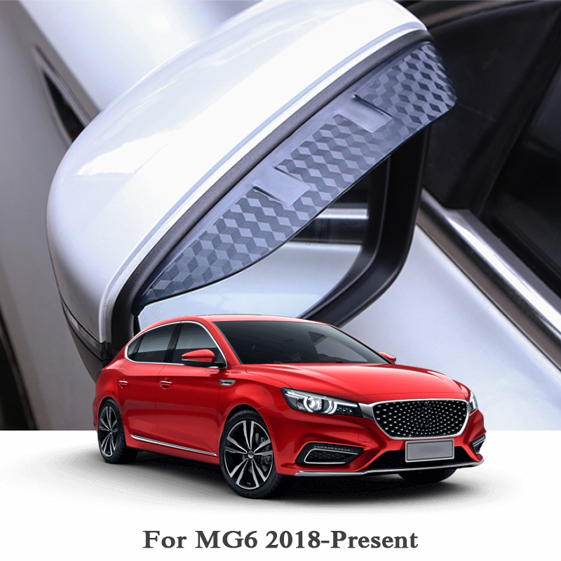 Car Rearview Mirror Rain Eyebrow Stickers For <font><b>MG6</b></font> 2018 <font><b>2019</b></font> Carbon Fiber Sticker External Car Accessories Car Back Mirror Cover image