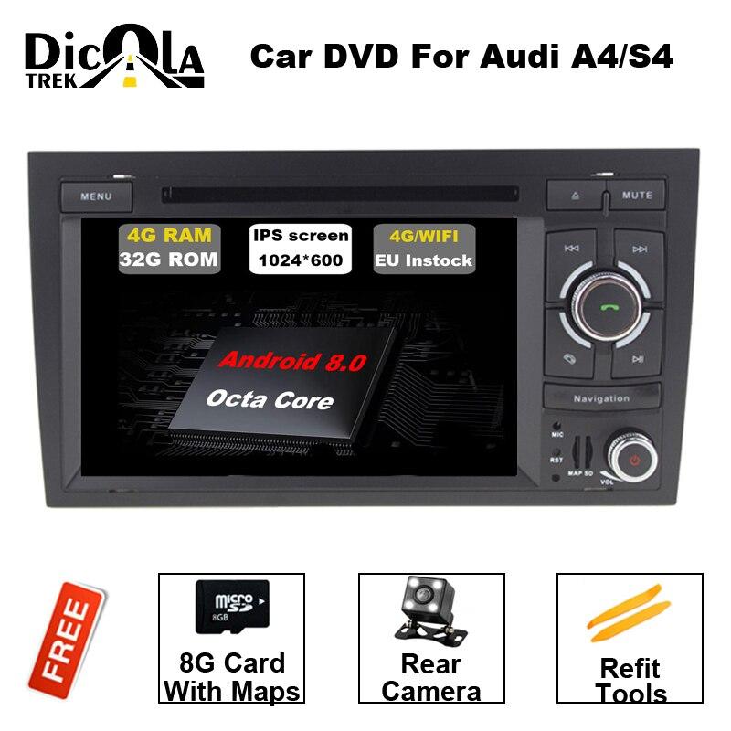 2 din voiture dvd gps Navigation Android 8.0 Pour AUDI A4 voiture radio DVD lecteur Octa Core cpu 1024*600 HD Capacitif écran DVR 4g RAM