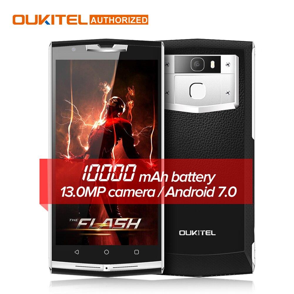 "$30 подарок мешок! 10000 мАч Quick Charge Oukitel k10000 Pro 4 г мобильный телефон 5.5 ""FHD 3 ГБ 32 ГБ Android 7.0 13.0MP сзади смартфон"