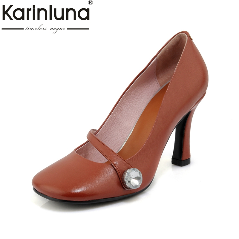 KarinLuna 2018 genuine leather Women's slip on thin high Heels square toe black white Office Party Pump Shoes Woman Size 33-40 lapolaka 2018 high quality large size 33 48 slip on thin high heels peep toe shoes woman platform party wedding pump