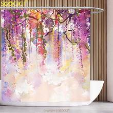 Unique Shower Curtain Watercolor Flower Decor Collection Spring Flowers Wisteria Bokeh Background Painting Accessories Navy