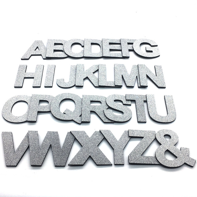 DIY 3D Shiny Silver Capital English Letters Wall Stickers Living Room Bedroom Background Wall Home Decor PVC Removable Stickers