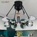 Стеклянный потолочный вентилятор для комнаты  потолочный вентилятор  светильник с дистанционным управлением  простой стиль  для ресторана ...