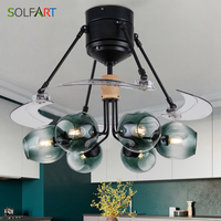 Glass Ceiling Fan Room Fan Lamp Ceiling Fan Light Remote Control Ventilador Simple Style Restaurant Living Room