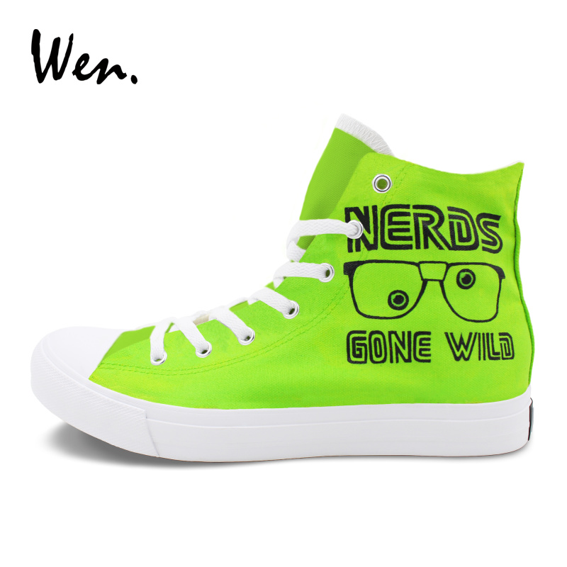 Wen Green Color Painting Sneakers Women Men Design Nerds Gone Wild Magic Cube Hand Painted Canvas Skateboarding Shoes nerds