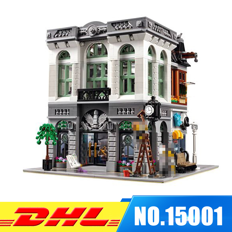 DHL Fast Shipping LEPIN 15001 Brick Bank Model Building Kits Blocks Bricks Kits Develop intelligence Toys Compatible With  10251 dhl free shipping lepin 16002 pirate ship metal beard s sea cow model building kits blocks bricks toys compatible legoed 70810