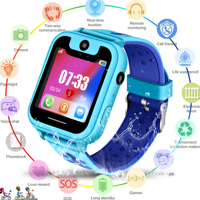 2019 New Waterproof smart Child Watch SOS Emergency Call smartwatch LBS Positioning Tracking kids smart watch Children+Box