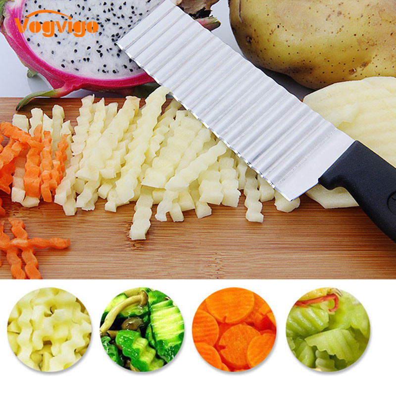 Knives Chopper Wave-Knife Kitchen-Tool Fryvegetable-Cutter Serrated Stainless-Steel French