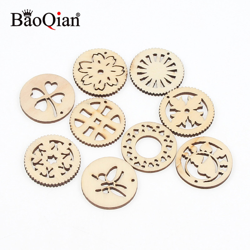 20pcs/pack 30mm Wooden Round Mixed Pattern Wood Carft Scrapbooking Madera Legno Accessories Home Wood Decorations