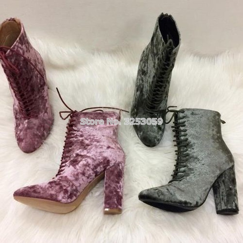 Ladies Popular Velvet Short Boots Lace Up Chunky High Heel Booties Fashionable Footwear Motorcycle Boots Dress Ankle Boots lace velvet swing dress