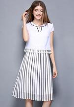 Summer new women's fashion striped  fake two pieces chiffon short sleeve mesh dress 2061