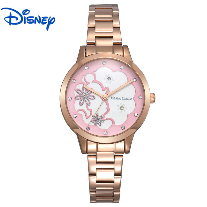 100% Genuine DISNEY Mickey Mouse Women Quartz Wrist Watch with Brand Box Packaging for 2016 Birthday Gift 30M Feet Waterproof