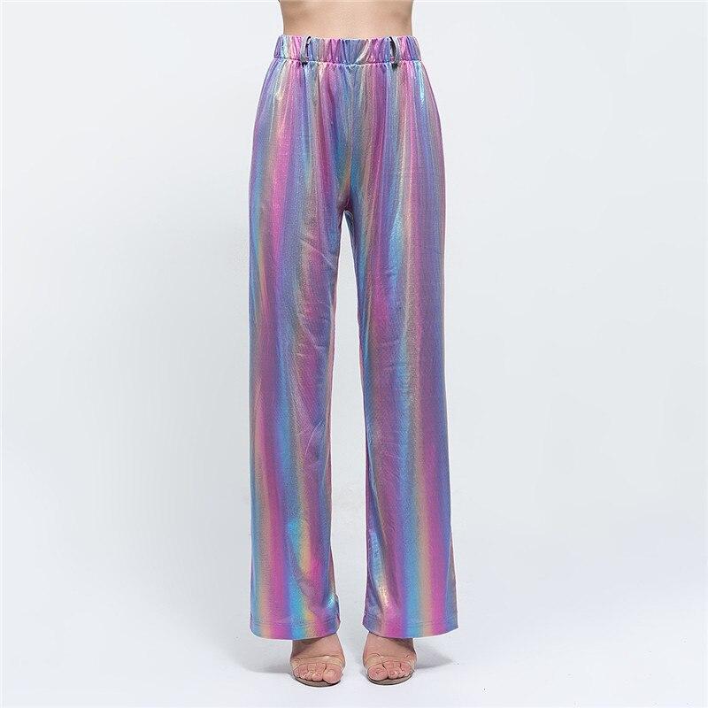 Rainbow Striped Casual Wide Leg   Pants   Women Winter Fashion 2018 Long Trousers Elastic High Waist Loose   Pants   &   Capris   Female