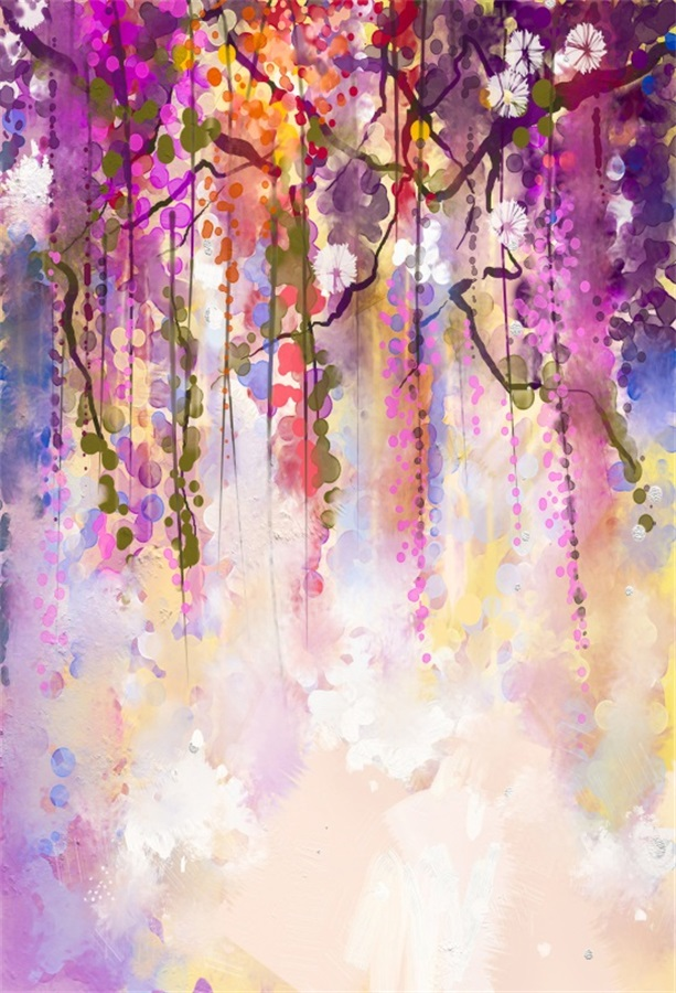 Laeacco Watercolor Flowers Vines Painting Photography Backdrops Vinyl Photo Backdrop Custom Backgrounds Props For Studio