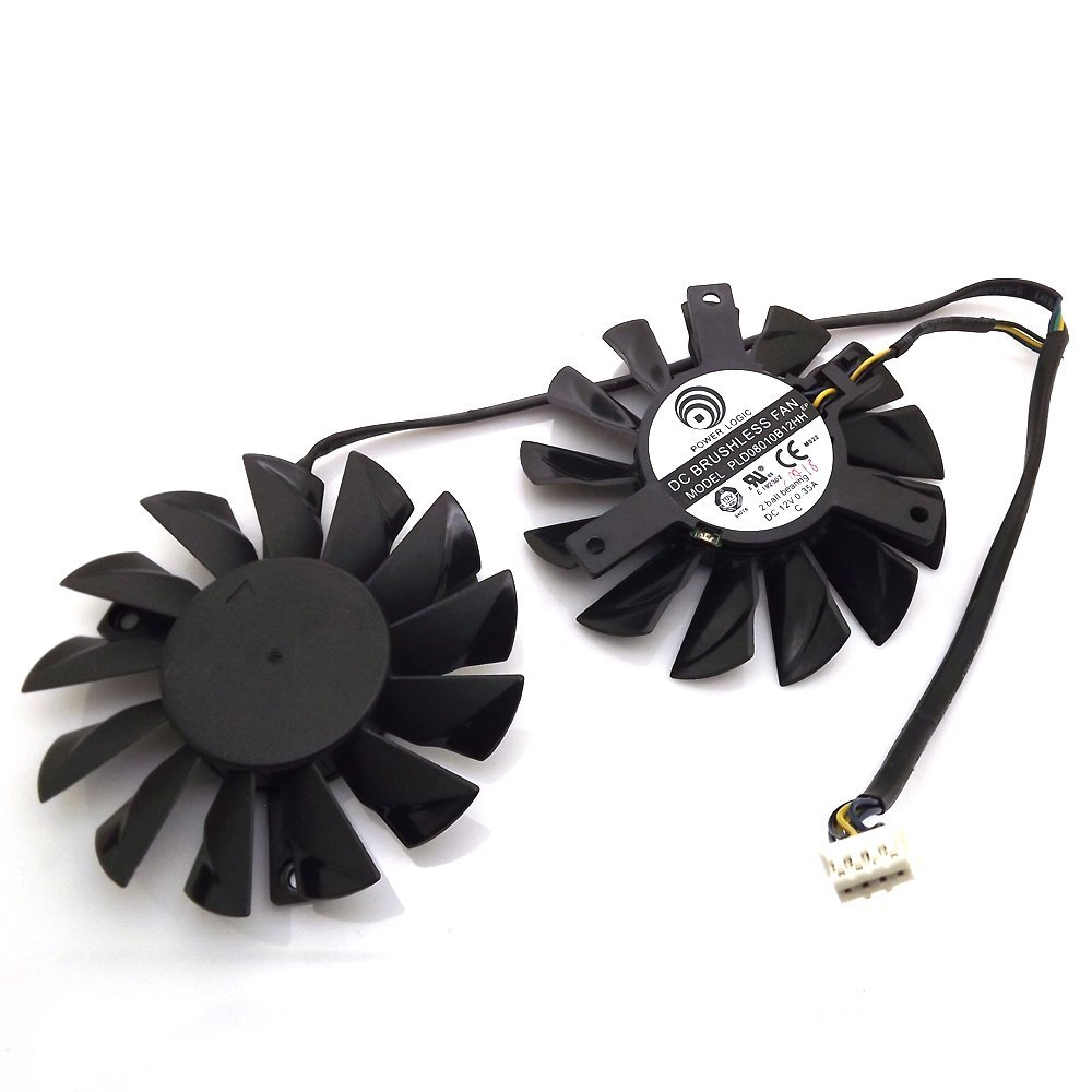 free shipping 2pcs/lot computer radiator PLD08010S12HH cooler Fan For MSI Twin Frozr III R6790 570GTX R6850 N460GTX R7950 HD7870 75mm pld08010s12hh graphics video card cooling fan 12v 0 35a twin for frozr ii 2 msi r6790 n560gtx r6850 n460gtx dual cooler fan