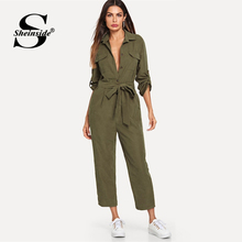 Sheinside Army Green Casual Button Shirt Women 2019 Roll Up Sleeve Tapered Mid Waist