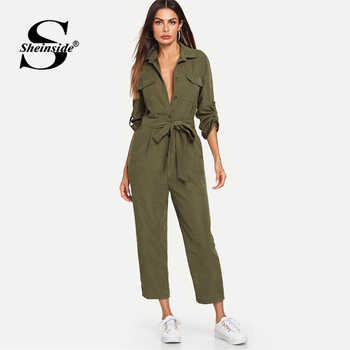 Sheinside Army Green Casual Button Shirt Jumpsuit Women 2019 Roll Up Sleeve Tapered Jumpsuits Mid Waist Belted Tooling Jumpsuit - DISCOUNT ITEM  40% OFF All Category