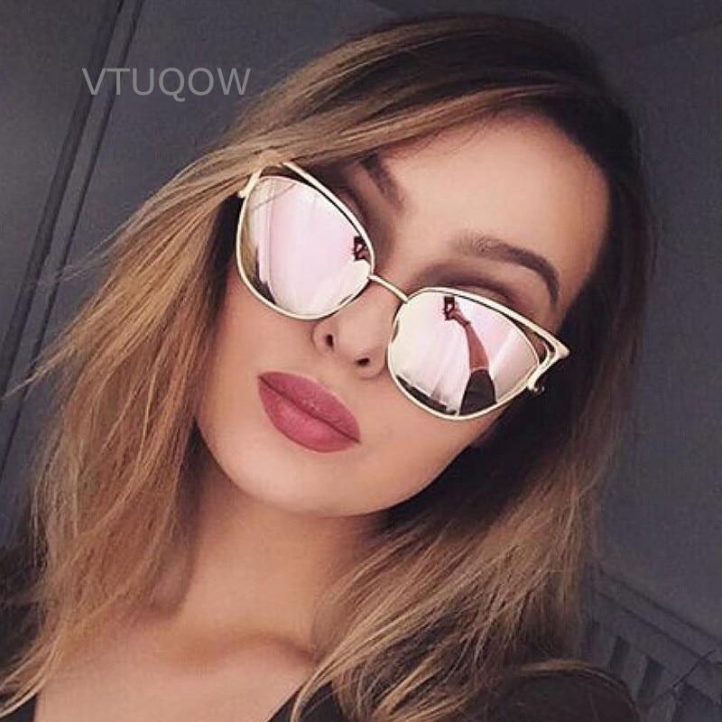 Luxe Cat Eye Zonnebrillen Merk Designer Retro Vintage Zonnebril Voor Dames Dames Dames Zonnebril Spiegel Lunettes Oculos