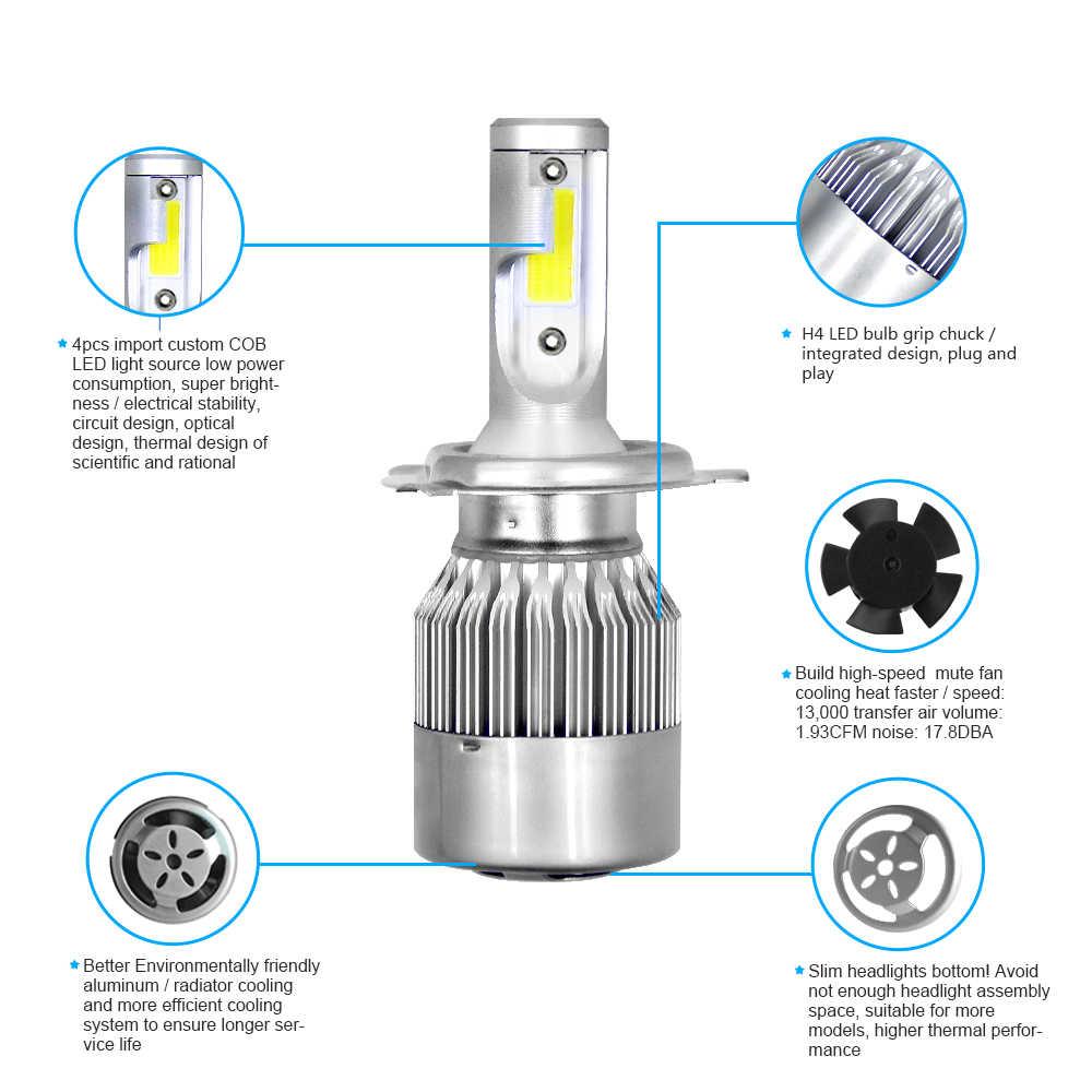 COB H4 HB2 9003 Hi-Lo Beam רכב LED פנס נורות 72 W 7200LM IP68 עמיד למים אוטומטי פנס Led אורות