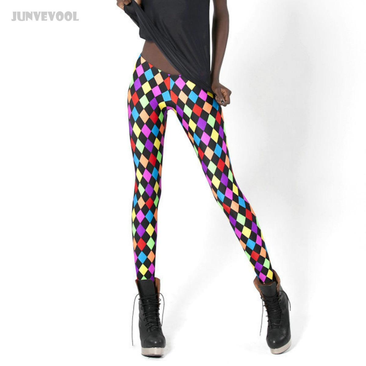 Leggings   Rainbow Color Spandex Fashion Rhombus Printed New Lady Women Sexy Stretch Skinny Pants Slim Trousers Black Joggings Hot