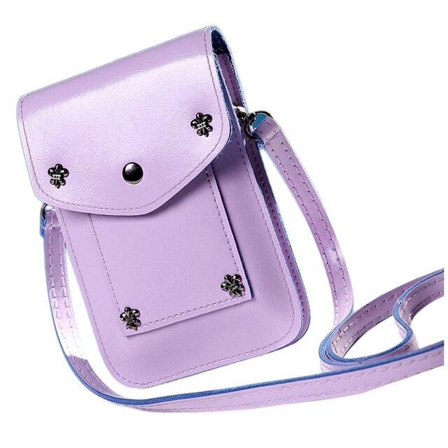 FGGS Girl Handbags Five Small Rivets Women Mini Shoulder Messenger Bag Handbag(Purple)