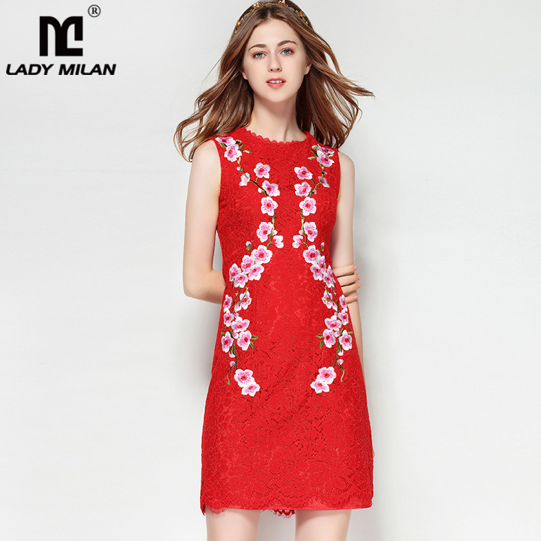 New Arrival 2018 Womens O Neck Sleeveless Embroidery Lace High Street Fashion Casual Dresses
